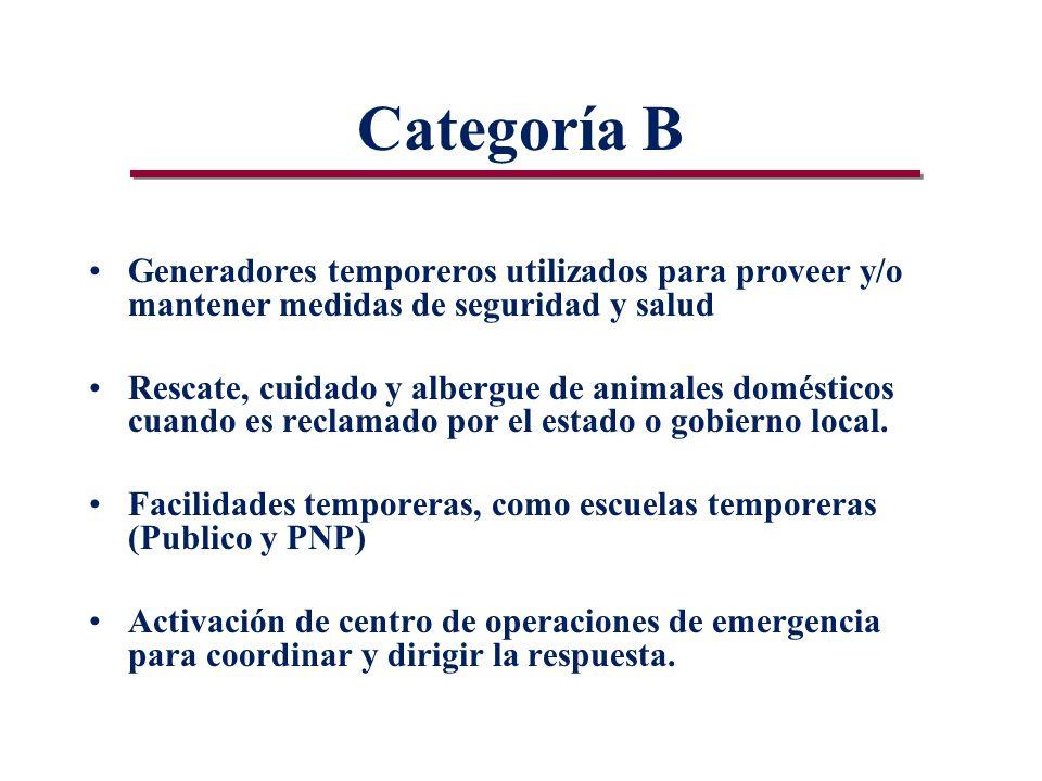 Categoría B Generadores temporeros utilizados para proveer y/o mantener medidas de seguridad y salud Rescate, cuidado y albergue de animales domésticos cuando es reclamado por el estado o gobierno local.
