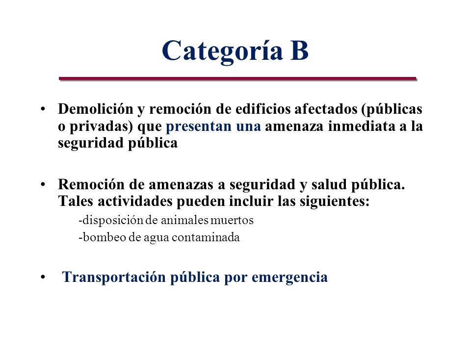 Categoría B Demolición y remoción de edificios afectados (públicas o privadas) que presentan una amenaza inmediata a la seguridad pública Remoción de amenazas a seguridad y salud pública.