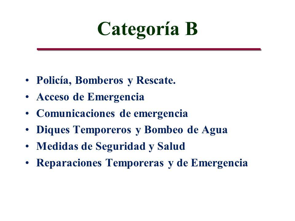 Categoría B Policía, Bomberos y Rescate.