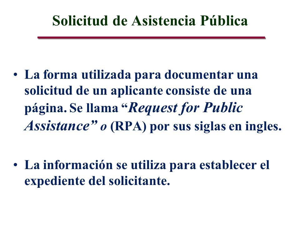 Solicitud de Asistencia Pública La forma utilizada para documentar una solicitud de un aplicante consiste de una página.