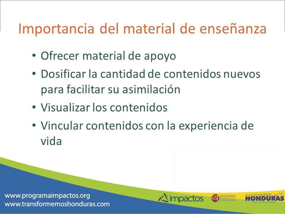 Importancia del material de enseñanza Ofrecer material de apoyo Dosificar la cantidad de contenidos nuevos para facilitar su asimilación Visualizar lo
