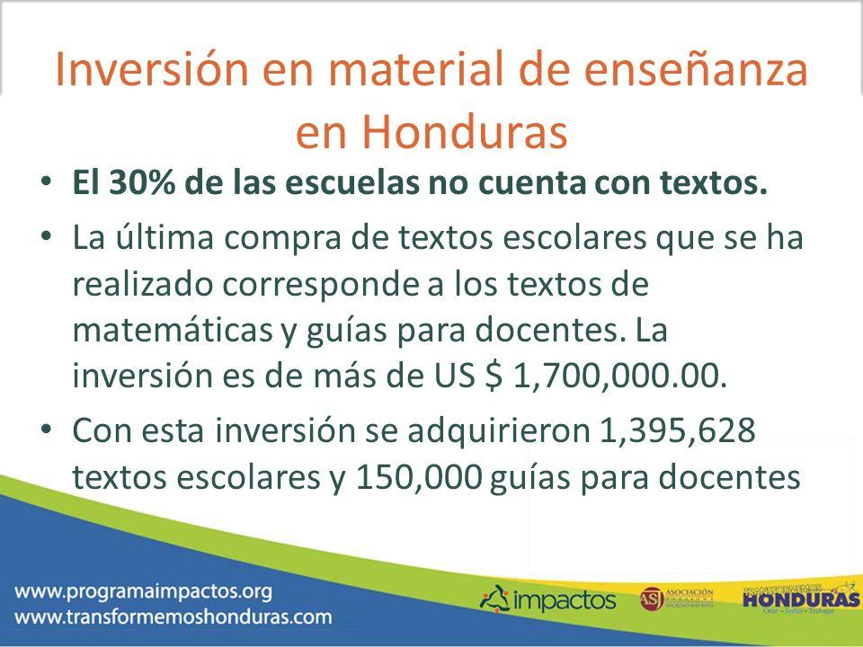 Inversión en material de enseñanza en Honduras El 30% de las escuelas no cuenta con textos. La última compra de textos escolares que se ha realizado c