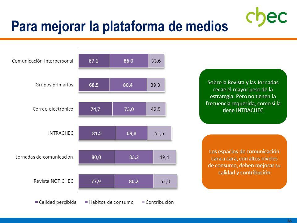 Para mejorar la plataforma de medios 66 Sobre la Revista y las Jornadas recae el mayor peso de la estrategia.