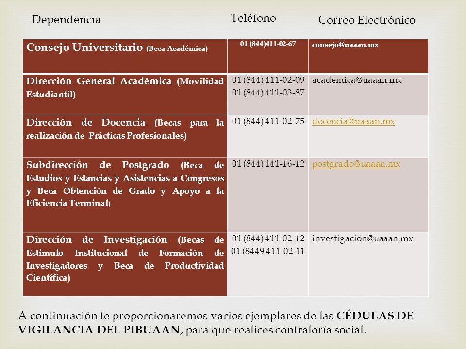 Consejo Universitario (Beca Académica) 01 (844)411-02-67 consejo@uaaan.mx Dirección General Académica (Movilidad Estudiantil) 01 (844) 411-02-09 01 (8