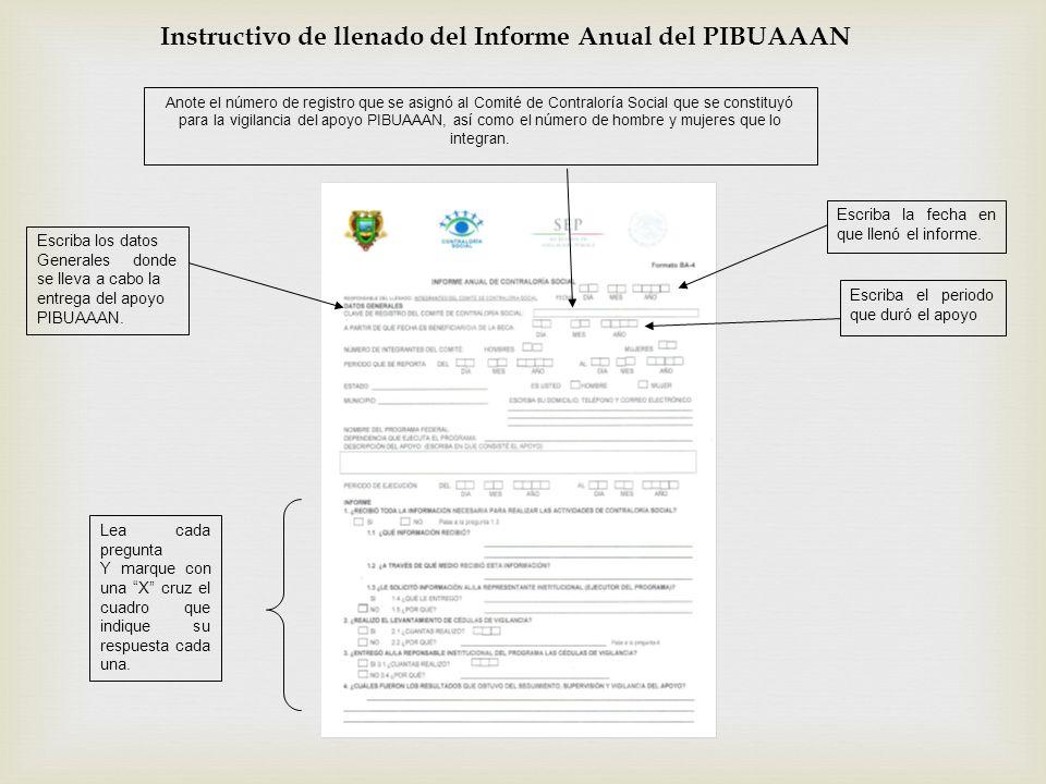 Escriba los datos Generales donde se lleva a cabo la entrega del apoyo PIBUAAAN. Anote el número de registro que se asignó al Comité de Contraloría So