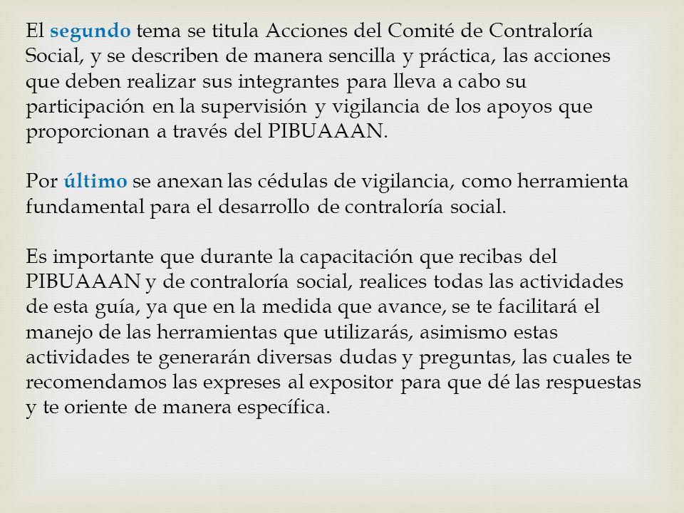 El segundo tema se titula Acciones del Comité de Contraloría Social, y se describen de manera sencilla y práctica, las acciones que deben realizar sus