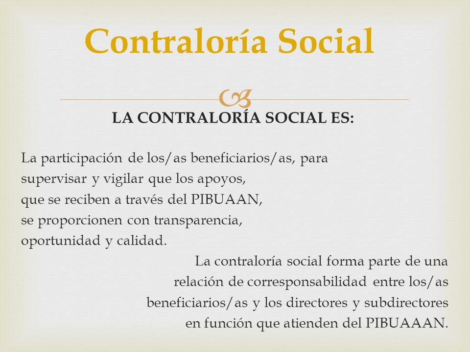LA CONTRALORÍA SOCIAL ES: La participación de los/as beneficiarios/as, para supervisar y vigilar que los apoyos, que se reciben a través del PIBUAAN,