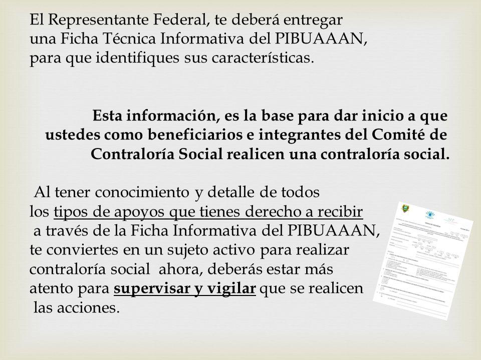 El Representante Federal, te deberá entregar una Ficha Técnica Informativa del PIBUAAAN, para que identifiques sus características. Esta información,