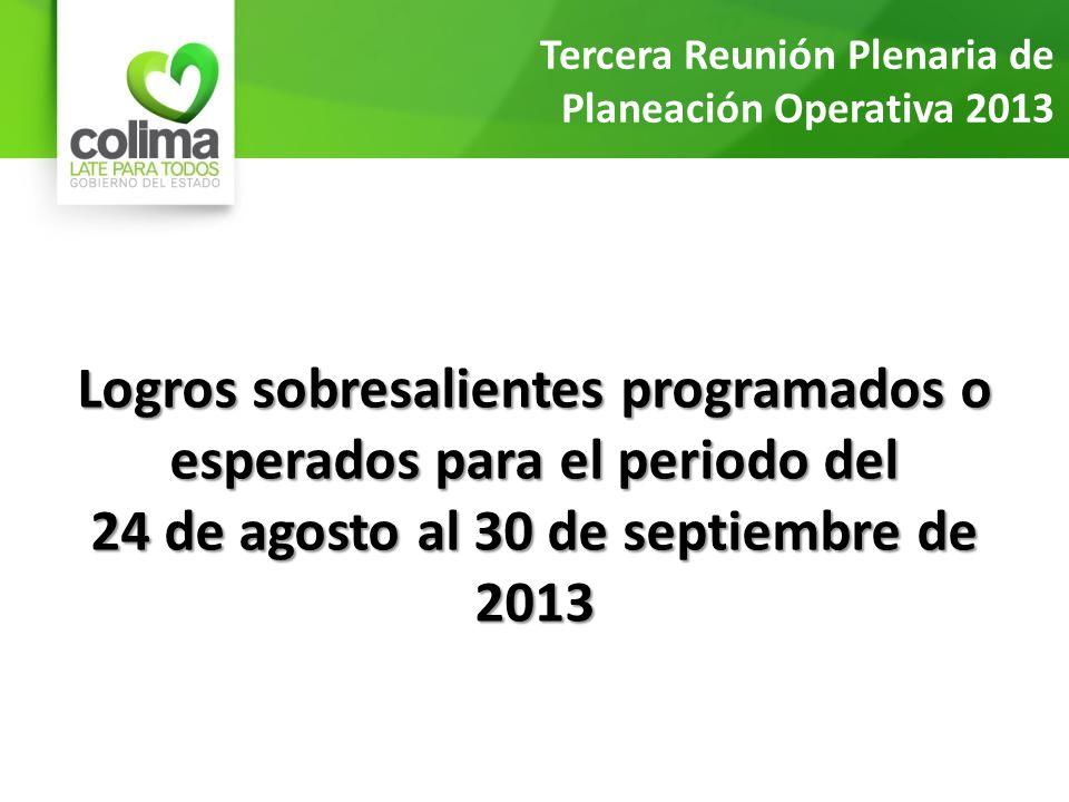 Logros sobresalientes programados o esperados para el periodo del 24 de agosto al 30 de septiembre de 2013 Tercera Reunión Plenaria de Planeación Operativa 2013