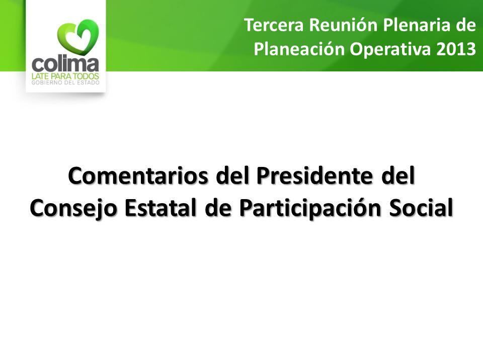 Comentarios del Presidente del Consejo Estatal de Participación Social Tercera Reunión Plenaria de Planeación Operativa 2013