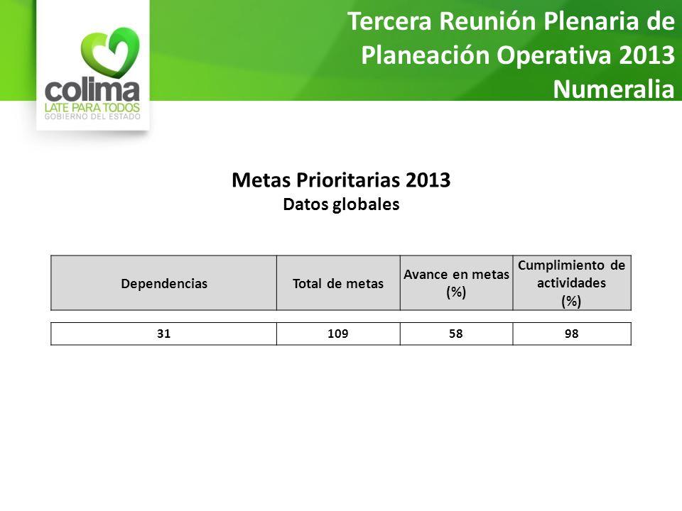 Metas Prioritarias 2013 Datos globales Tercera Reunión Plenaria de Planeación Operativa 2013 Numeralia al 20 de marzo DependenciasTotal de metas Avance en metas (%) Cumplimiento de actividades (%) 311095898