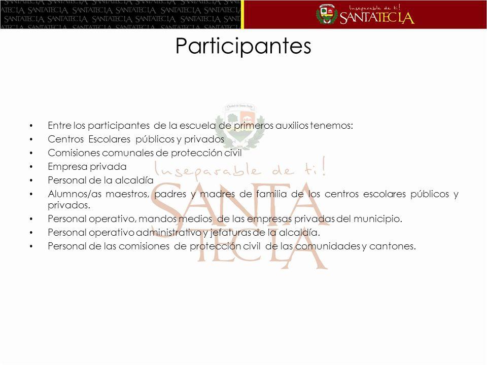 Participantes Entre los participantes de la escuela de primeros auxilios tenemos: Centros Escolares públicos y privados Comisiones comunales de protec
