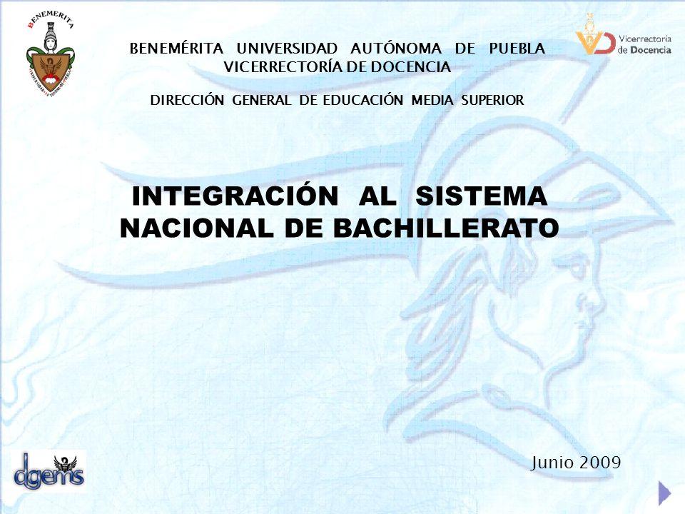 BENEMÉRITA UNIVERSIDAD AUTÓNOMA DE PUEBLA VICERRECTORÍA DE DOCENCIA DIRECCIÓN GENERAL DE EDUCACIÓN MEDIA SUPERIOR INTEGRACIÓN AL SISTEMA NACIONAL DE B
