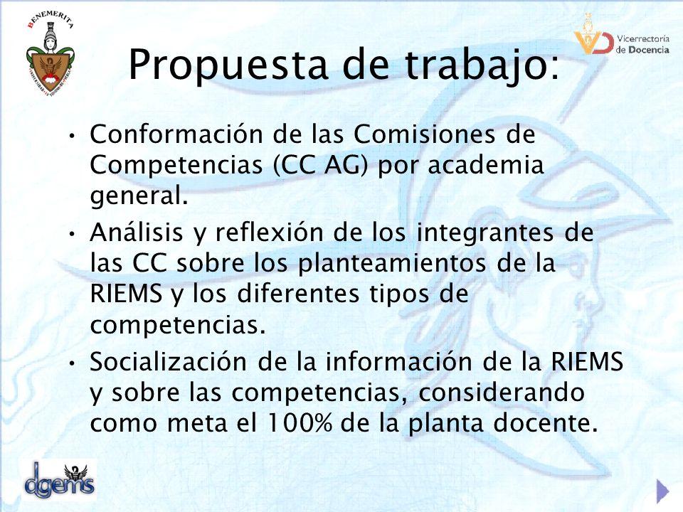 Propuesta de trabajo: Conformación de las Comisiones de Competencias (CC AG) por academia general. Análisis y reflexión de los integrantes de las CC s