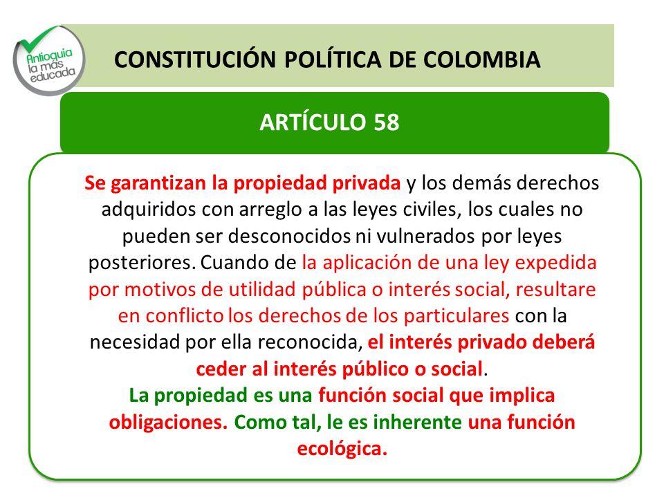Constitución Política de Colombia Artículo 64 (Acceso a tierra y Desarrollo Rural) Artículo 65 (Protección a la producción de alimentos, adecuación de tierras) Artículo 66 (Acceso al Crédito).