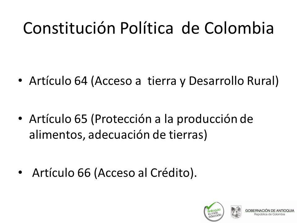 Constitución Política de Colombia Artículo 64 (Acceso a tierra y Desarrollo Rural) Artículo 65 (Protección a la producción de alimentos, adecuación de