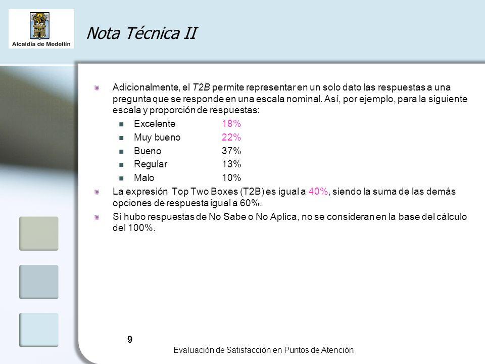 9 Evaluación de Satisfacción en Puntos de Atención Nota Técnica II Adicionalmente, el T2B permite representar en un solo dato las respuestas a una pregunta que se responde en una escala nominal.