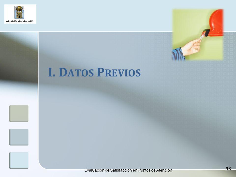 I. D ATOS P REVIOS Evaluación de Satisfacción en Puntos de Atención 98