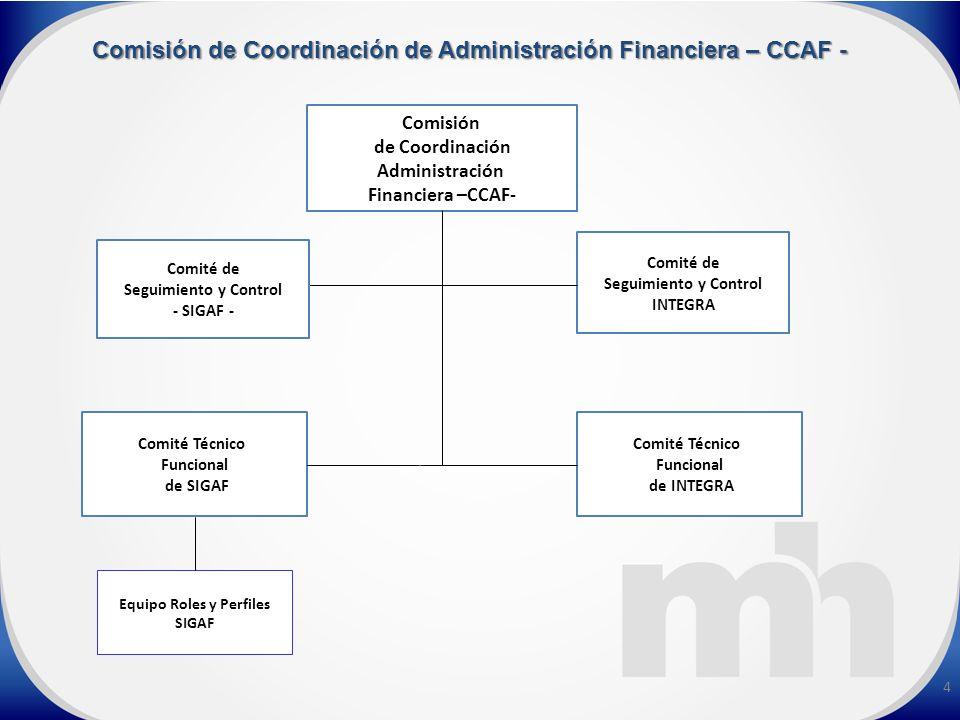 4 Comisión de Coordinación Administración Financiera –CCAF- Comité Técnico Funcional de SIGAF Comité Técnico Funcional de INTEGRA Comité de Seguimiento y Control INTEGRA Comité de Seguimiento y Control - SIGAF - Equipo Roles y Perfiles SIGAF Comisión de Coordinación de Administración Financiera – CCAF -