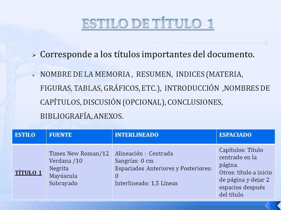 Corresponde a los títulos importantes del documento. NOMBRE DE LA MEMORIA, RESUMEN, INDICES (MATERIA, FIGURAS, TABLAS, GRÁFICOS, ETC.), INTRODUCCIÓN,N
