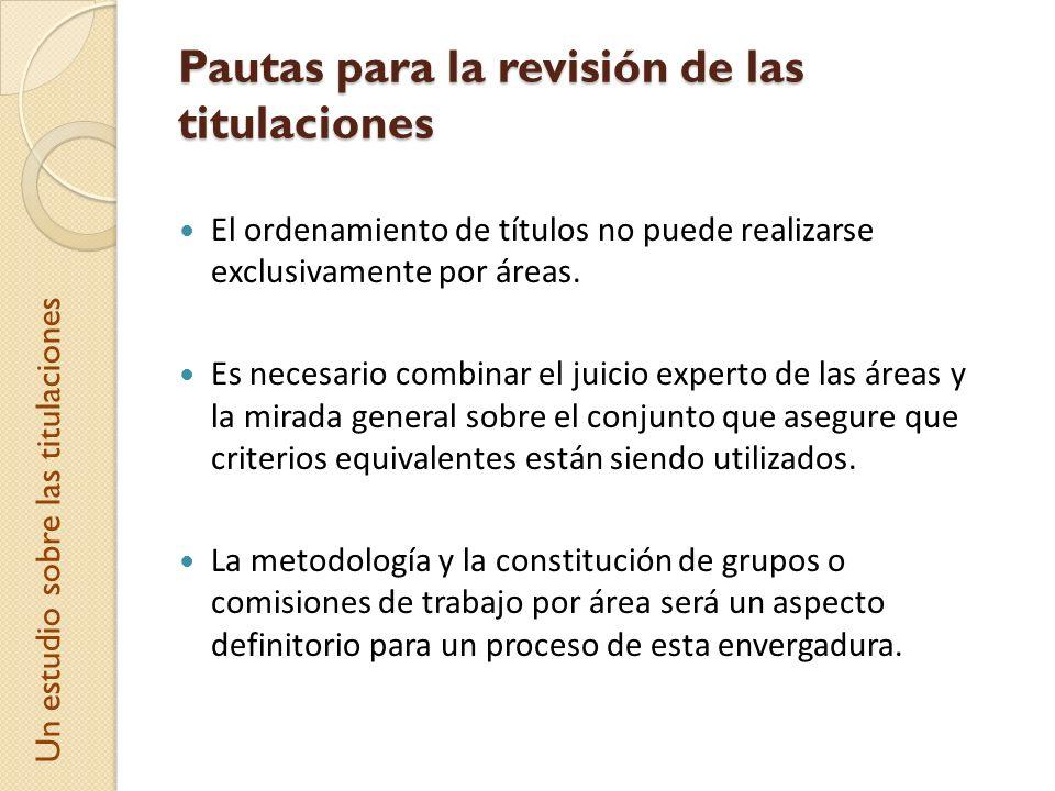 Pautas para la revisión de las titulaciones El ordenamiento de títulos no puede realizarse exclusivamente por áreas. Es necesario combinar el juicio e