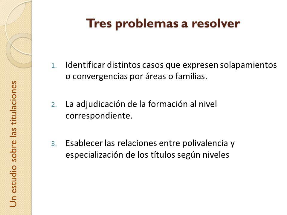 Tres problemas a resolver 1. Identificar distintos casos que expresen solapamientos o convergencias por áreas o familias. 2. La adjudicación de la for