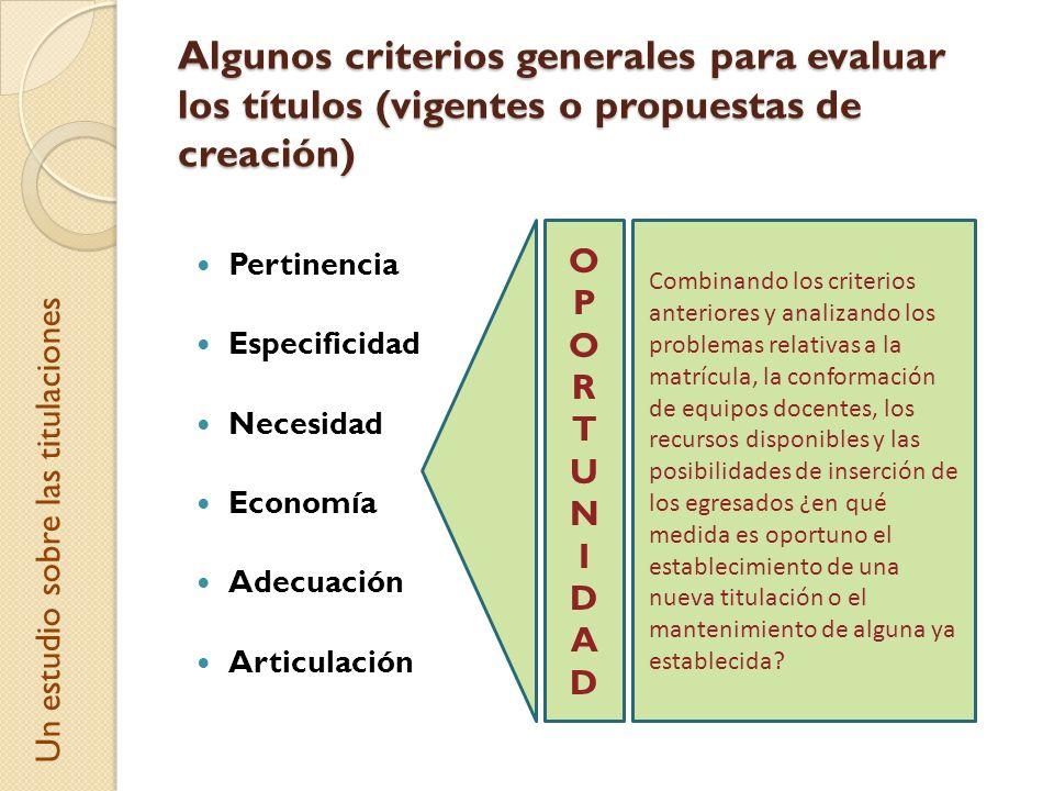 Algunos criterios generales para evaluar los títulos (vigentes o propuestas de creación) Pertinencia Especificidad Necesidad Economía Adecuación Artic