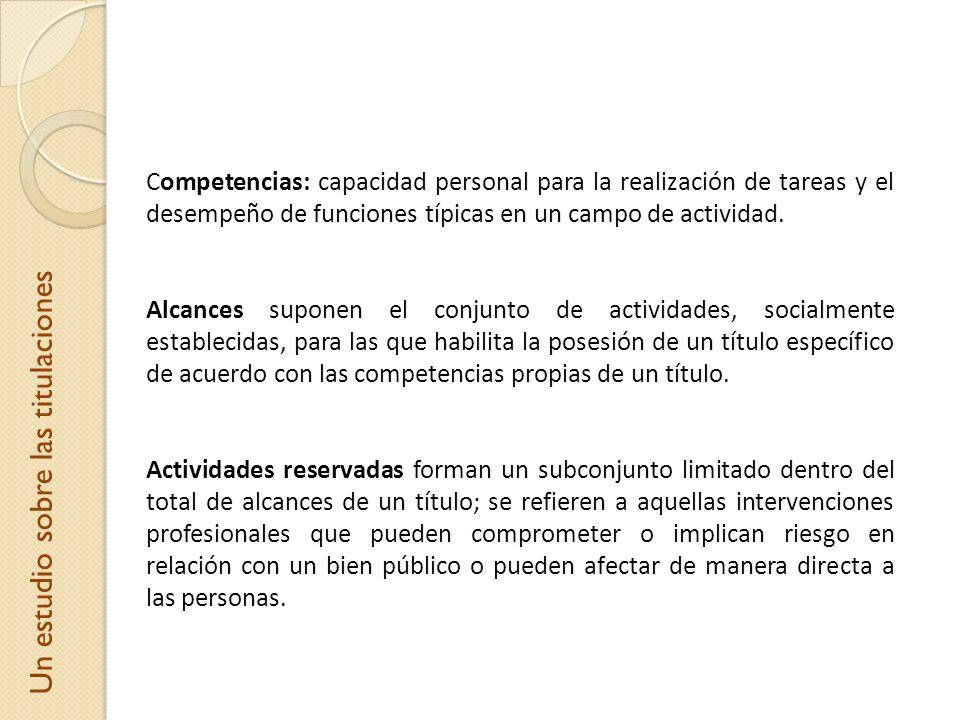 Competencias: capacidad personal para la realización de tareas y el desempeño de funciones típicas en un campo de actividad. Alcances suponen el conju