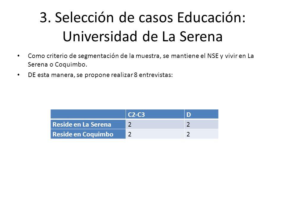 3. Selección de casos Educación: Universidad de La Serena Como criterio de segmentación de la muestra, se mantiene el NSE y vivir en La Serena o Coqui