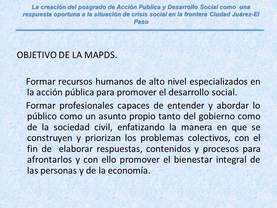 OBJETIVO DE LA MAPDS.