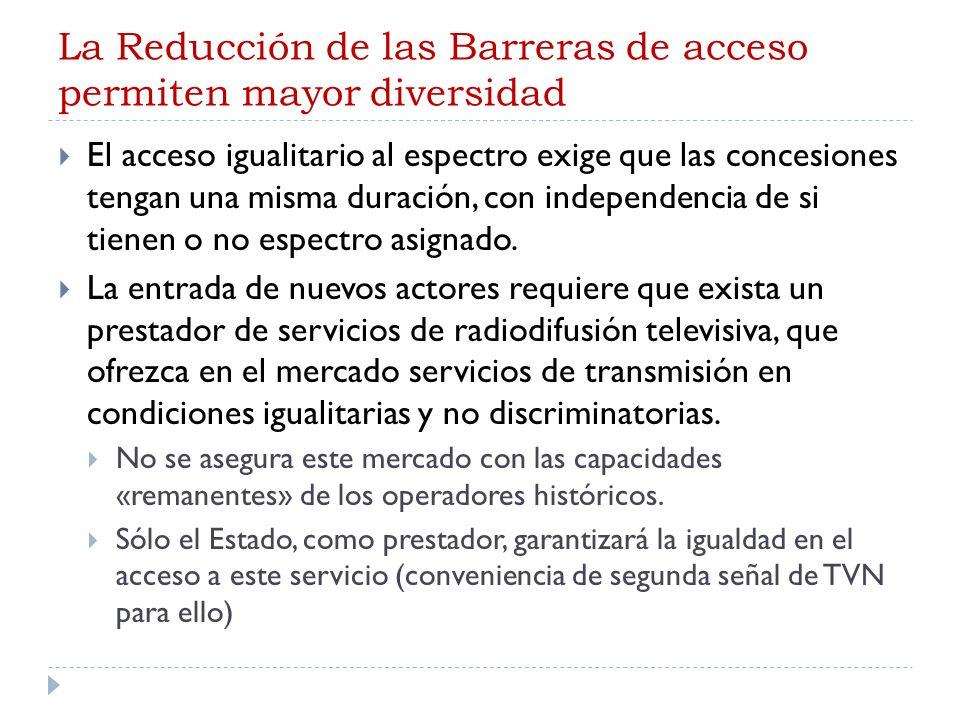 La Reducción de las Barreras de acceso permiten mayor diversidad El acceso igualitario al espectro exige que las concesiones tengan una misma duración, con independencia de si tienen o no espectro asignado.