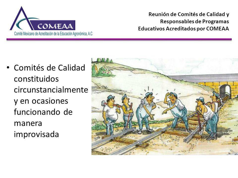 Reunión de Comités de Calidad y Responsables de Programas Educativos Acreditados por COMEAA Comités de Calidad constituidos circunstancialmente y en o