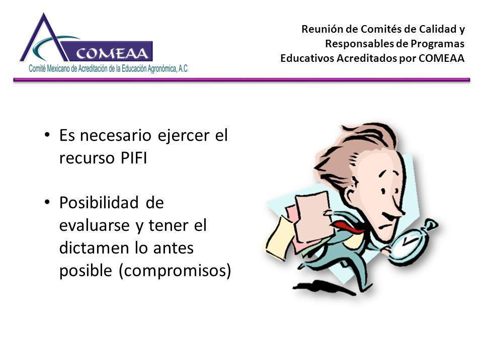 Reunión de Comités de Calidad y Responsables de Programas Educativos Acreditados por COMEAA Es necesario ejercer el recurso PIFI Posibilidad de evalua