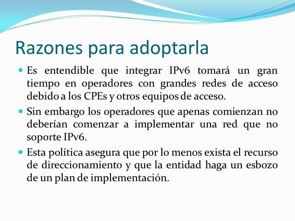 Razones para adoptarla Es entendible que integrar IPv6 tomará un gran tiempo en operadores con grandes redes de acceso debido a los CPEs y otros equipos de acceso.