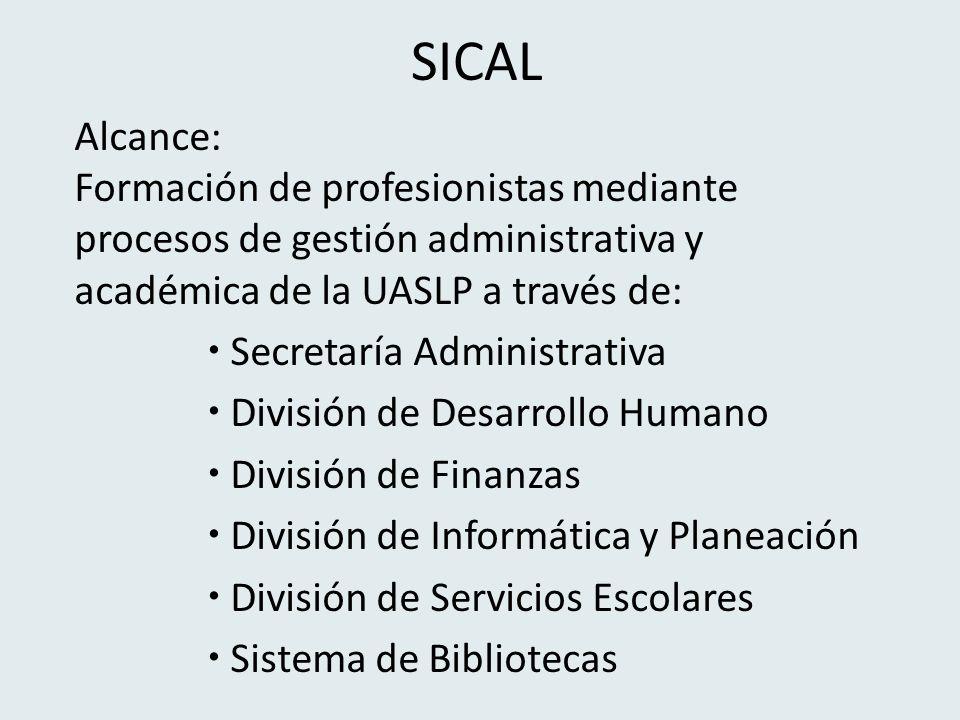 SICAL Alcance: Formación de profesionistas mediante procesos de gestión administrativa y académica de la UASLP a través de: Secretaría Administrativa División de Desarrollo Humano División de Finanzas División de Informática y Planeación División de Servicios Escolares Sistema de Bibliotecas