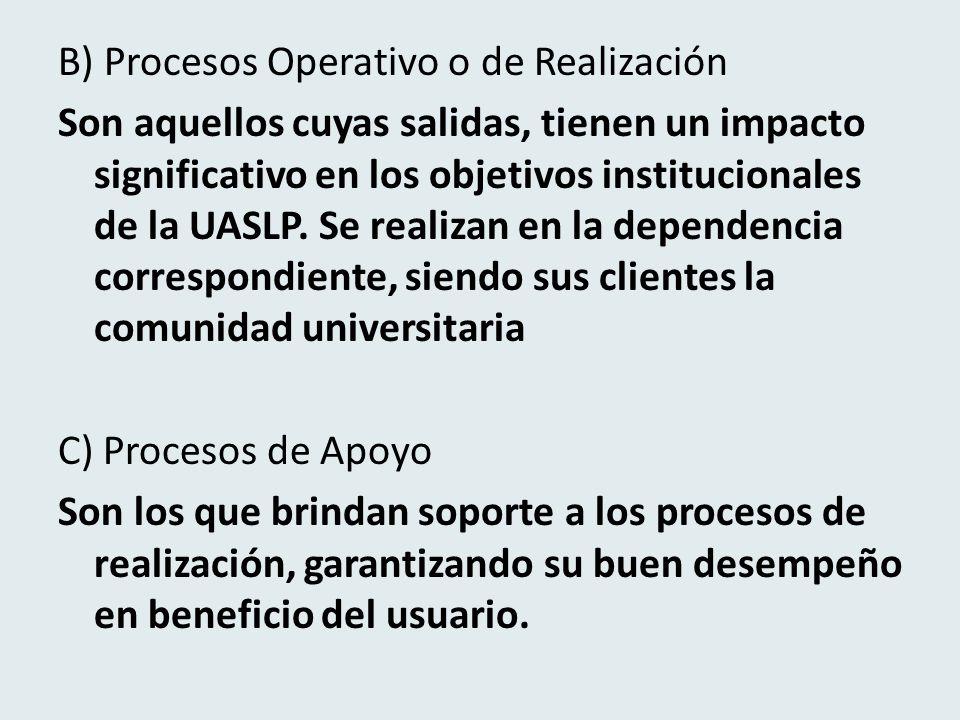B) Procesos Operativo o de Realización Son aquellos cuyas salidas, tienen un impacto significativo en los objetivos institucionales de la UASLP.