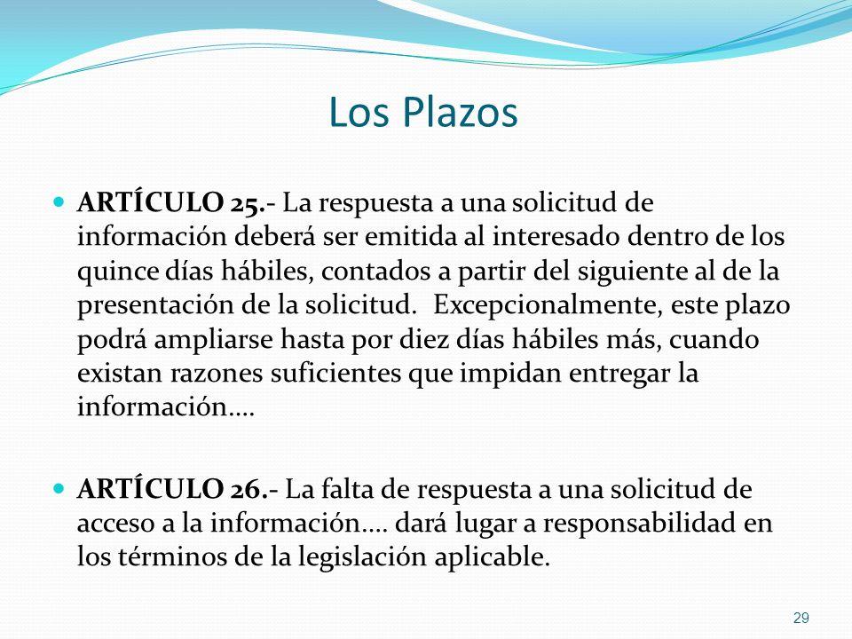 Los Plazos ARTÍCULO 25.- La respuesta a una solicitud de información deberá ser emitida al interesado dentro de los quince días hábiles, contados a pa