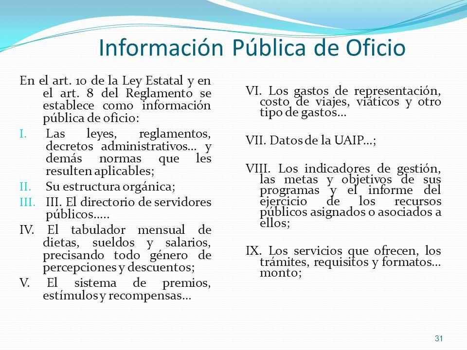 En el art. 10 de la Ley Estatal y en el art. 8 del Reglamento se establece como información pública de oficio: I. Las leyes, reglamentos, decretos adm