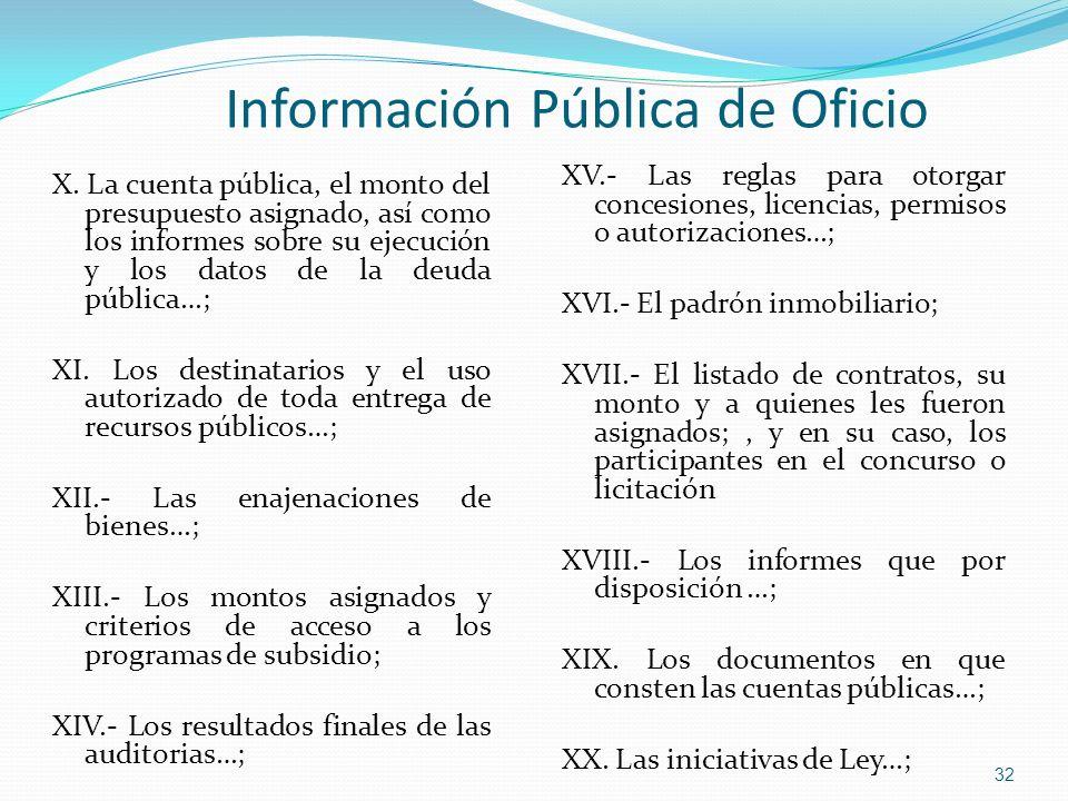 X. La cuenta pública, el monto del presupuesto asignado, así como los informes sobre su ejecución y los datos de la deuda pública…; XI. Los destinatar