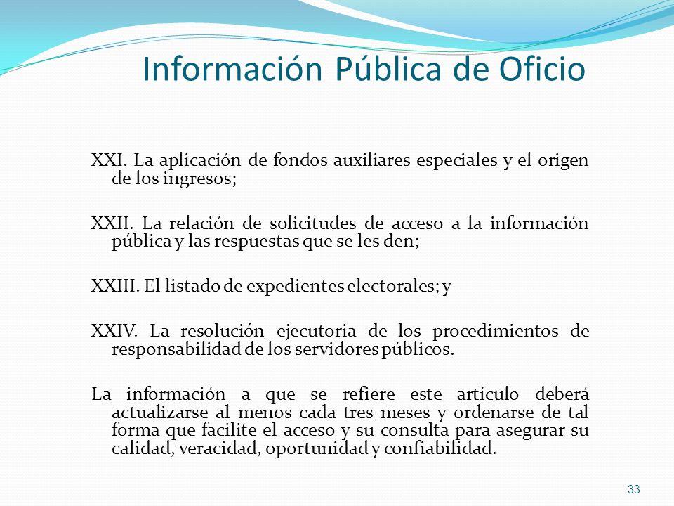 XXI. La aplicación de fondos auxiliares especiales y el origen de los ingresos; XXII. La relación de solicitudes de acceso a la información pública y