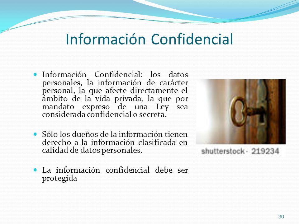 Información Confidencial: los datos personales, la información de carácter personal, la que afecte directamente el ámbito de la vida privada, la que p