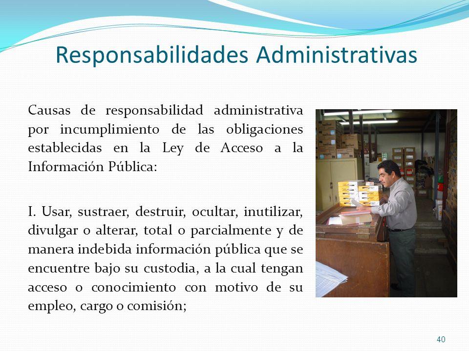 Responsabilidades Administrativas Causas de responsabilidad administrativa por incumplimiento de las obligaciones establecidas en la Ley de Acceso a l