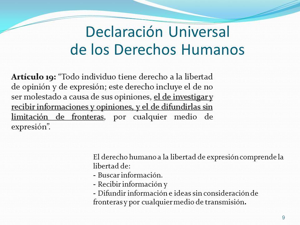 Declaración Universal de los Derechos Humanos El derecho humano a la libertad de expresión comprende la libertad de: - Buscar información. - Recibir i