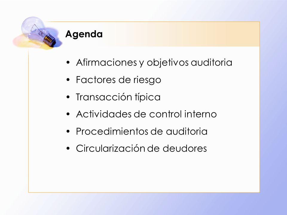 Agenda Afirmaciones y objetivos auditoria Factores de riesgo Transacción típica Actividades de control interno Procedimientos de auditoria Circulariza