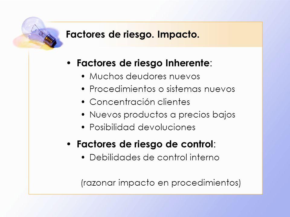 Factores de riesgo. Impacto. Factores de riesgo Inherente : Muchos deudores nuevos Procedimientos o sistemas nuevos Concentración clientes Nuevos prod