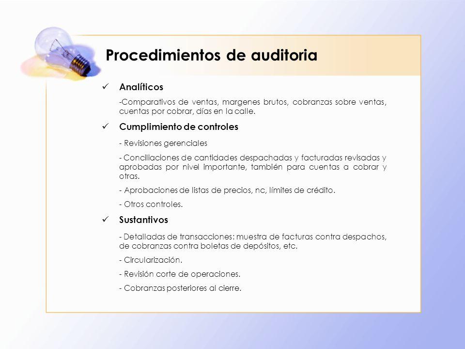 Procedimientos de auditoria Analíticos -Comparativos de ventas, margenes brutos, cobranzas sobre ventas, cuentas por cobrar, días en la calle. Cumplim