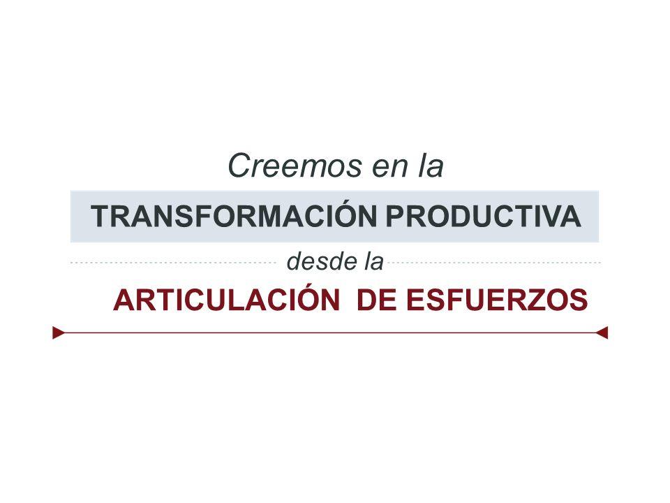 Creemos en la TRANSFORMACIÓN PRODUCTIVA desde la ARTICULACIÓN DE ESFUERZOS