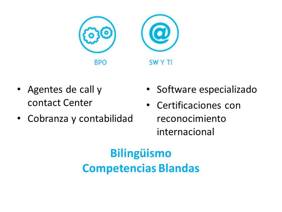 Agentes de call y contact Center Cobranza y contabilidad Software especializado Certificaciones con reconocimiento internacional Bilingüismo Competenc