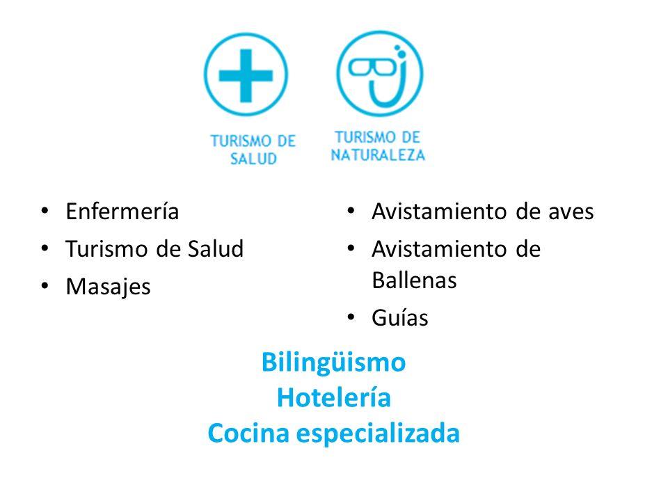 Enfermería Turismo de Salud Masajes Avistamiento de aves Avistamiento de Ballenas Guías Bilingüismo Hotelería Cocina especializada