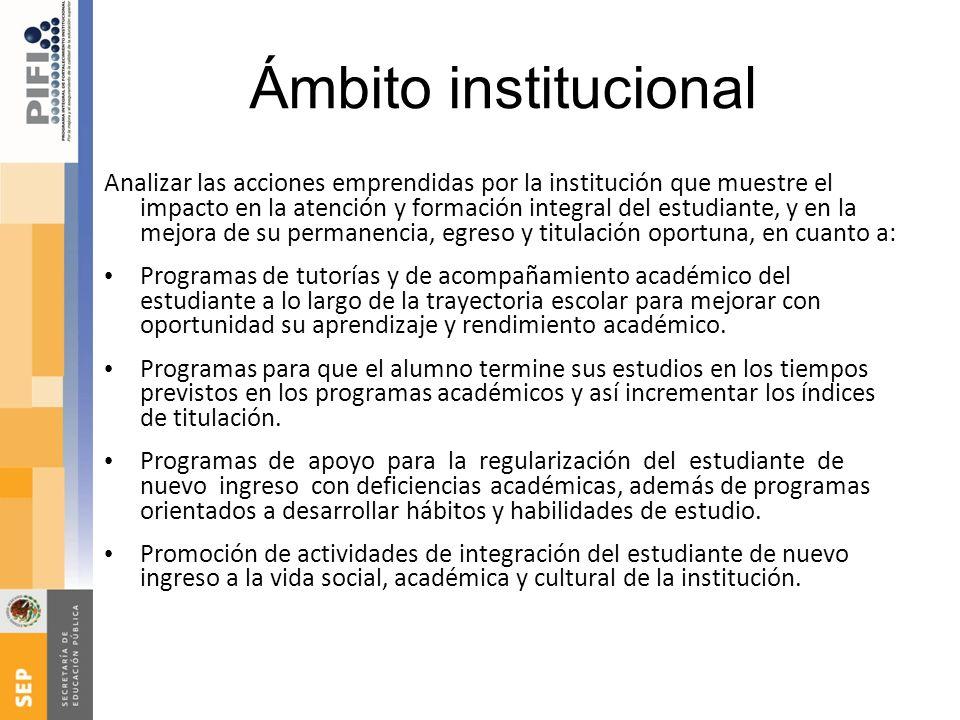Ámbito institucional Analizar las acciones emprendidas por la institución que muestre el impacto en la atención y formación integral del estudiante, y